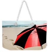 Red And Black Umbrella On The Beach With Footprints Weekender Tote Bag