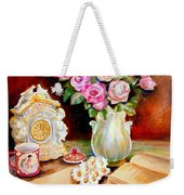 Red And Pink Roses And Daisies - The Doves Of Peace-angels And The Bible Weekender Tote Bag
