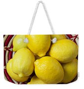 Red And White Basket Full Of Lemons Weekender Tote Bag by Garry Gay