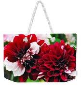 Red And White Variegated Dahlia Weekender Tote Bag