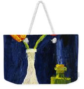 Red And Yellow Tulips In Vase Abstract Palette Knife Painting Weekender Tote Bag