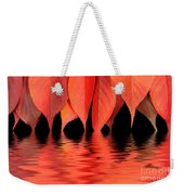 Red Autumn Leaves In Water Weekender Tote Bag