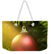 Red Ball In A Real Caucasian Fir Christmas Tree Weekender Tote Bag