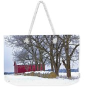 Red Barn In Winter With Hay Bales Weekender Tote Bag