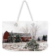 Michigan Red Barn Winter Scene Snow Landscape Weekender Tote Bag