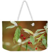 Red Bird Berries Of Fall Weekender Tote Bag