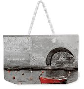 Red Boat In The Harbor At Vernazza Weekender Tote Bag
