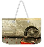 Red Boat In Vernazza Harbor On The Cinque Terre Weekender Tote Bag