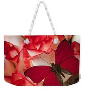 Red Butterfly On Blush Roses Weekender Tote Bag