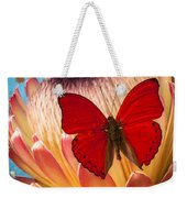 Red Butterfly On Protea Weekender Tote Bag