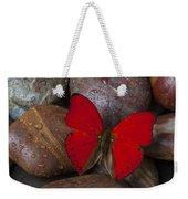 Red Butterfly On Rocks Weekender Tote Bag