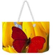 Red Butterful On Yellow Tulips Weekender Tote Bag