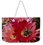 Red Cactus Flower With Bumble Bee Weekender Tote Bag