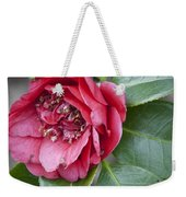 Red Camellia Squared Weekender Tote Bag by Teresa Mucha
