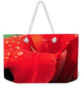 Red Canna With Raindrops Weekender Tote Bag