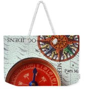 Red Compass And Rose Compass Weekender Tote Bag