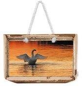 Red Dawn Swan Framed In Old Window Frame Weekender Tote Bag