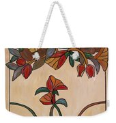 Red Flower Pane Weekender Tote Bag by Cynthia Amaral