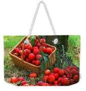 Red Fresh Plums In The Basket Weekender Tote Bag