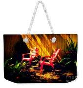 Red Garden Chairs Weekender Tote Bag