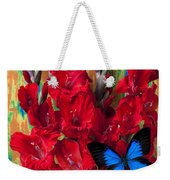 Red Gladiolus And Blue Butterfly Weekender Tote Bag
