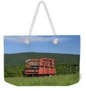 Red Hay Wagon In Green Mountain Field Weekender Tote Bag