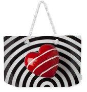 Red Heart On Circle Plate Weekender Tote Bag by Garry Gay