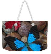 Red Leaf And Blue Butterfly Weekender Tote Bag
