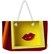 Red Lips In Yellow Box Weekender Tote Bag