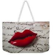 Red Lips On Letter Weekender Tote Bag