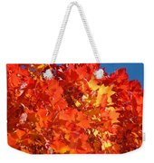 Red Orange Yellow Autumn Leaves Art Prints Vivid Bright Weekender Tote Bag