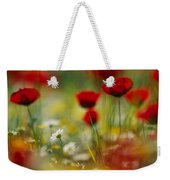 Red Poppies And Small Daisies Bloom Weekender Tote Bag