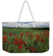 Red Poppies Edge A Field Near Moscow Weekender Tote Bag
