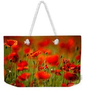 Red Poppy Flowers 02 Weekender Tote Bag by Nailia Schwarz