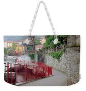 Red Rail Walkway To Varenna Along Lake Como Weekender Tote Bag