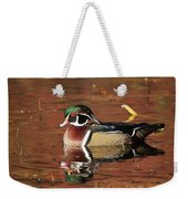 Red Reflection Of A Wood Duck Weekender Tote Bag