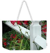 Red Rhododendron And White Post Weekender Tote Bag