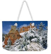 Red Rock Formations Poke Through A Late Weekender Tote Bag