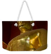 Red Roofed Hall With Ornaments And A Tall Golden Buddha Statue Weekender Tote Bag
