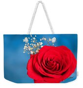 Red Rose And Baby Breath Weekender Tote Bag