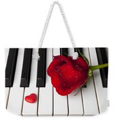 Red Rose And Candy Heart Weekender Tote Bag