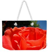 Red Rose Flower Bright Colorful Vivid Red Floral Rose Weekender Tote Bag