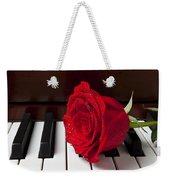 Red Rose On Piano Weekender Tote Bag