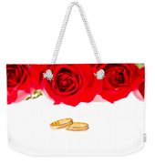 Red Roses And Wedding Rings Over White Weekender Tote Bag