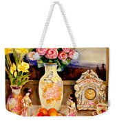 Red Roses Yellow Daffodils In Hand Painted Oriental Antique Vases With Fruit Plate Doves And Angels Weekender Tote Bag