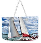 Red Sailboat Green Sea Blue Sky Weekender Tote Bag