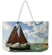Red-sailed Sailboat And Others Weekender Tote Bag