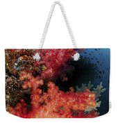 Red Soft Corals And Blue Leather Sea Weekender Tote Bag