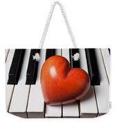 Red Stone Heart On Piano Keys Weekender Tote Bag