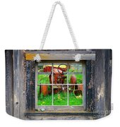 Red Tractor Thru Old Window Weekender Tote Bag